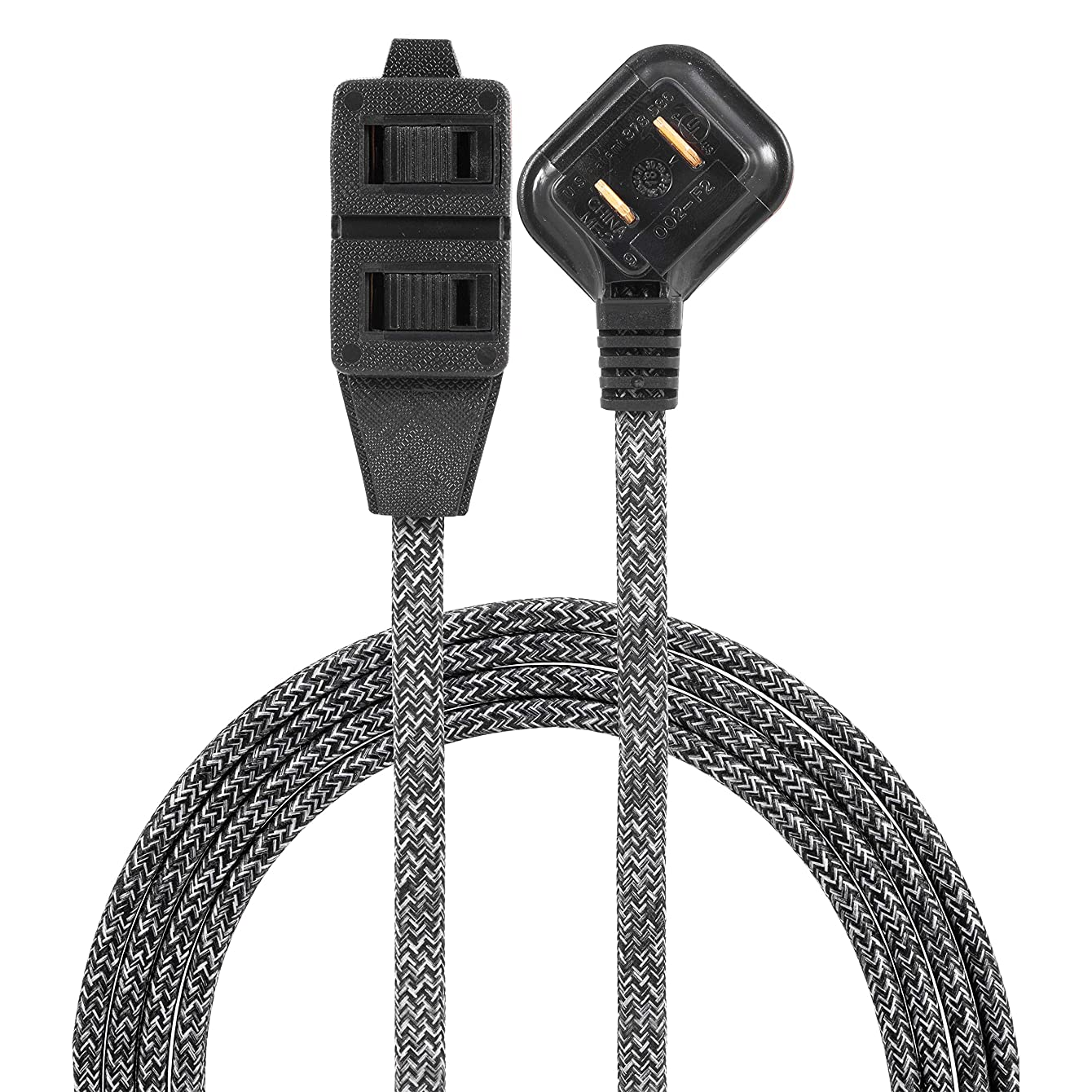 Cordinate Designer 3 Extension, 2 Prong Strip, Extra Long 8 Ft Power Flat Plug, Fabric Braided Cord, Slide-to-Close Safety Outlets, Gray/Black, 42841