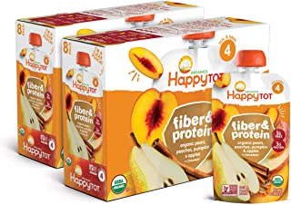 Happy Tot Organic Fiber & Protein Pears Apples Peaches Pumpkin + Cinnamon, 4 Ounce Pouch (Pack of 16) (Packaging May Vary)