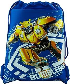 Transformers Bumble Bee Drawstring Backpack Sling Tote School Sport Gym Bag (Blue)