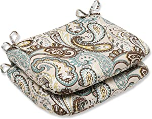 Pillow Perfect 537092 Perfect Outdoor/Indoor Tamara Paisley Quartz Round Corner Seat Cushions, 18.5