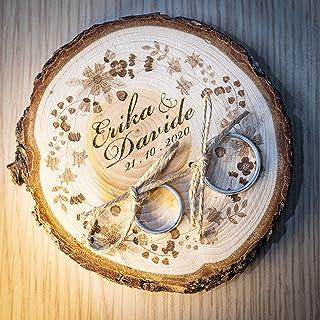 Porta fedi su fetta di legno di cedro 10/11 cm, portafedi personalizzato per matrimonio o altro evento speciale anniversar...