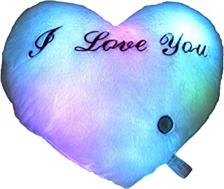 Houwsbaby LED Heart Pillow Glowing at Night with Embroidery I Love You Words for Birthday Halloween Christmas Valentine's Day, 14 inch (White)