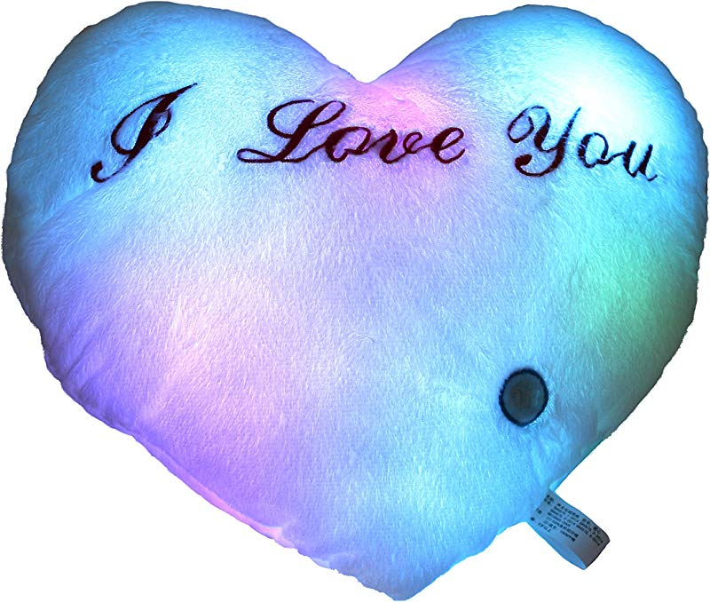 Houwsbaby LED Heart Pillow Glowing At Night With Embroidery I Love You Words For Mother S Day Valentine S Day 14 Inch White