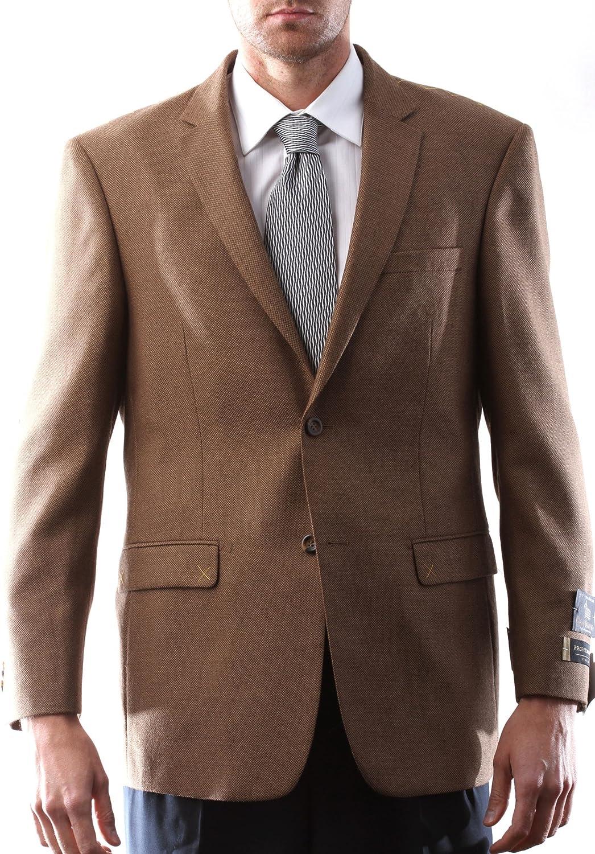 Prontomoda Italia Men's 2 Button Wool Cashmere Light Brown Sport Coat