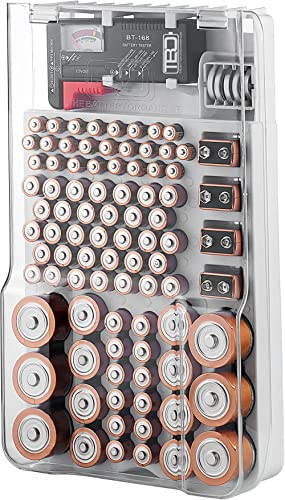 The Battery Organizer Storage Case with Hinged Clear Cover, Includes a Removable Battery Tester, Holds 93 Batteries V...