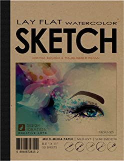 "Design Ideation Lay Flat Watercolor Sketch Pad. Removable Sheet Sketchbook for Pencil, Ink, Marker, Charcoal and Watercolor Paints. Great for Art, Design and Education. 8.5"" x 11"" (1)"