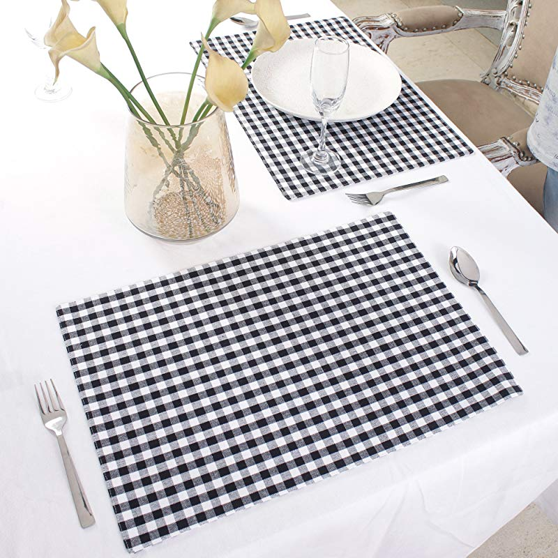 Cotton Placemats Set Of 4 Double Sided Placemats 13 X 19 Inches Black White Check Perfect For Spring Summer Holidays Christmas And For Everyday Use