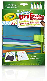 Crayola Washable Dry-Erase Travel Pack, All-in-One Travel Set Art Gift for Kids 4 & Up, Travel Folio with 2 Drawing Surfaces, 4 Dry Erase Pip-Squeak Markers in Classic Colors & E-Z Erase Cloth