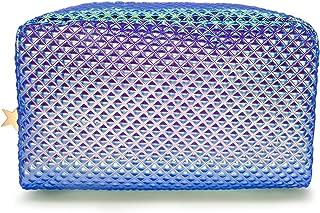 Holographic Cosmetic Bag Makeup Bag Toiletry Travel Bag Handy Large Protable Wash Pouch Waterproof Zipper Handbag Carry Case Organizer Mermaid Makeup Brush bag(shiny purple bag)
