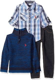 U.S. Polo Assn. Boys' Little Sport Shirt, Sweater and Pant Set