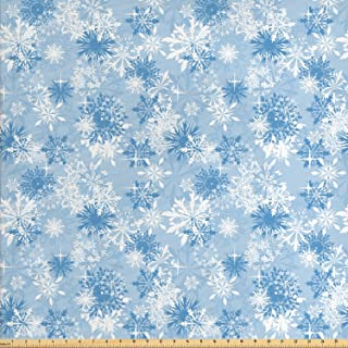 Ambesonne Snowflake Fabric by The Yard, Winter Holiday Illustration Christmas Snowflakes on Abstract Background, Decorative Fabric for Upholstery and Home Accents, 1 Yard, Blue White