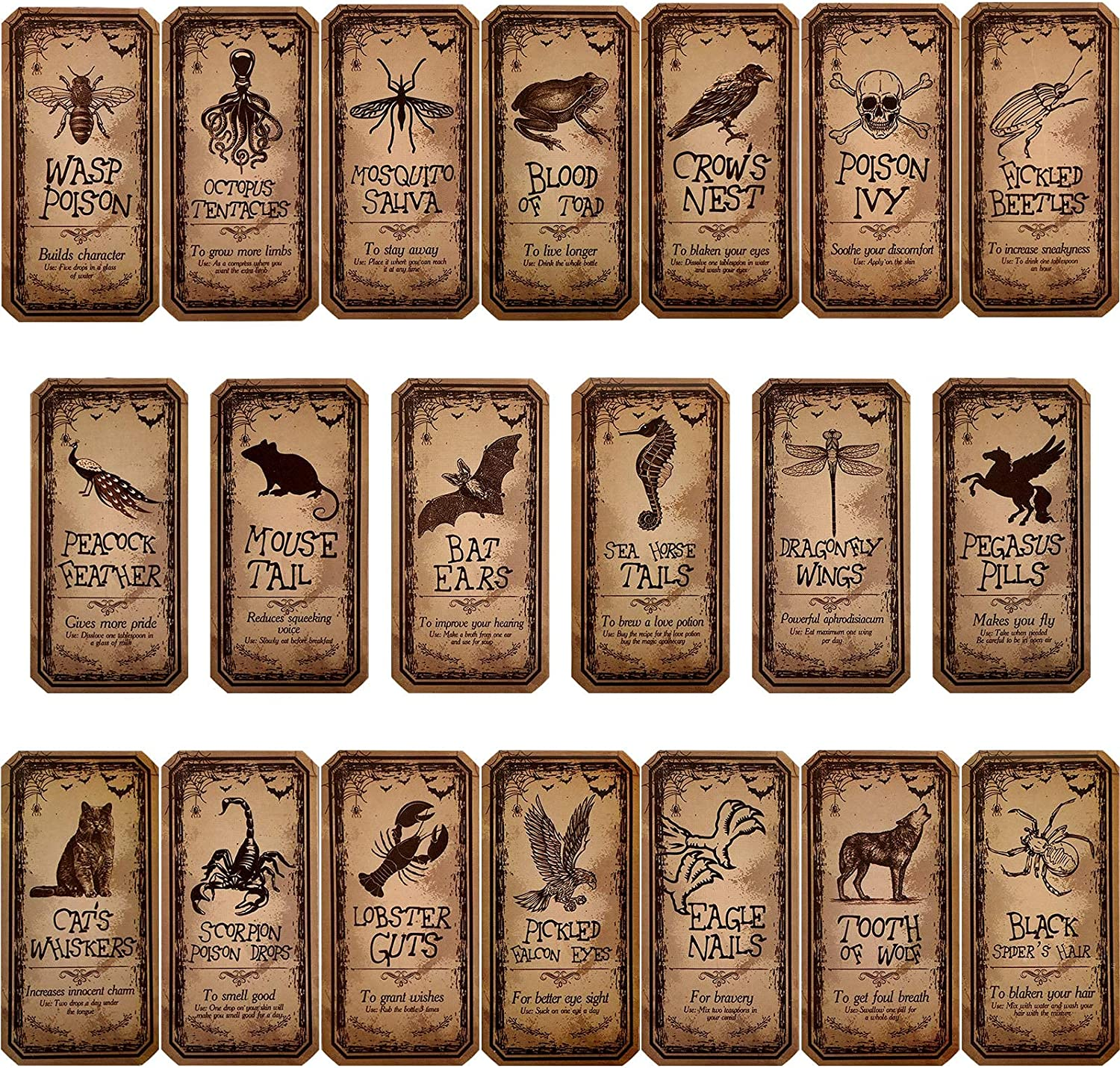 80 Pieces Creepy Halloween Animal Apothecary Bottle Labels Stickers Medicine Bottle Label Laminated Ready to Use for Party Decoration Party Gifts and Photo Props, 20 Styles