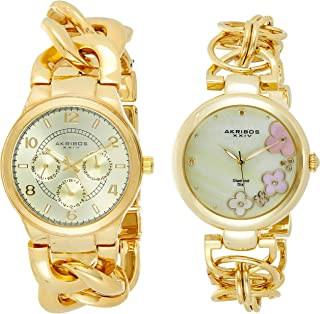 Akribos XXIV Women's Gold Dial Metal Band Watch Set - AK677YG