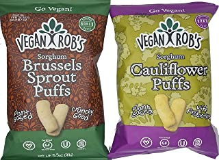 Vegan Robs Puffs Variety Pack Cauliflower and Brussel Sprout | Gluten-Free Snack, Plant Based, Vegan, Dairy Free, Zero Trans Fats, Non GMO | 3.5 Ounce Bags (2 Count)