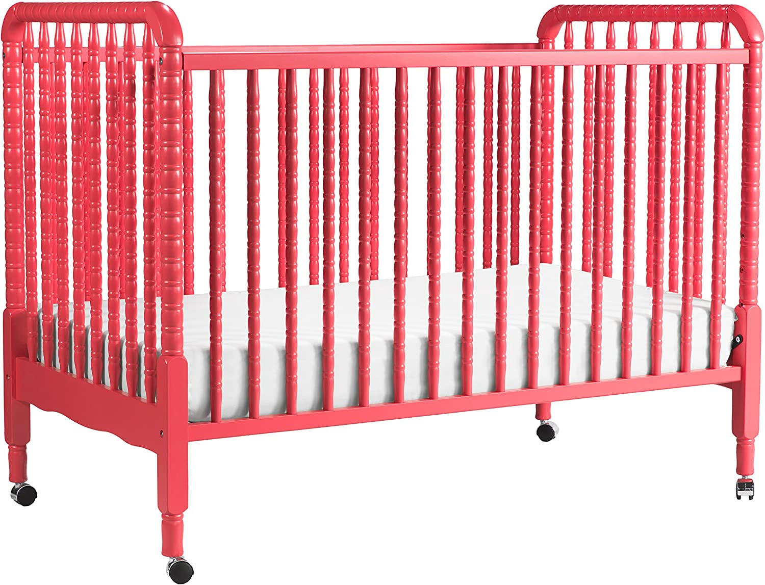 DaVinci Jenny Lind Stationary Crib With Toddler Bed Conversion Kit, Coral