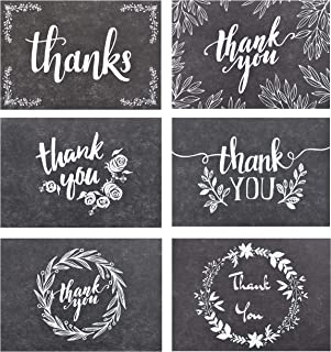 120 Elegant Black and White Chalkboard Kraft Thank You Cards with Kraft Envelopes and Stickers - 6 Designs Bulk Notes with White Letters for Weddings, Business, Formal and All Occasions 4x6 Inch