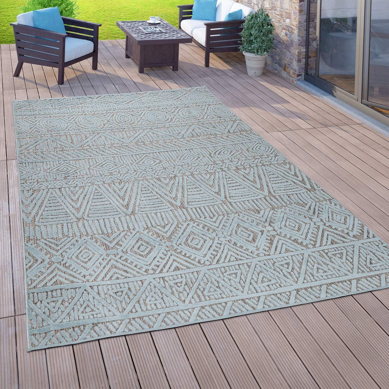 Paco Home In  & Outdoor Teppich Für Balkon Terrasse, Flachgewebe, 8 D  Ethno Look, In Türkis, Grösse8x8 cm