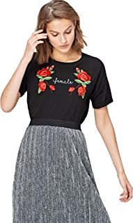 Amazon Brand - find. Women's Embroidered Short Sleeve T Shirt