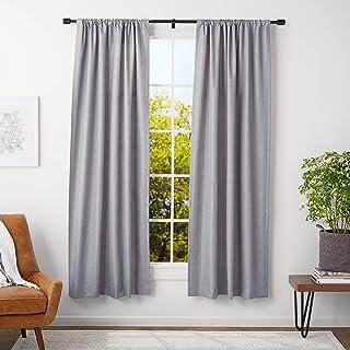 comprar comparacion AmazonBasics - Barra para cortinas con remates con tapas, 91-182 cm, Negro