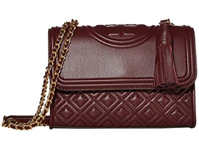 Tory Burch Fleming Small Convertible Shoulder Bag (Claret) Shoulder Handbags