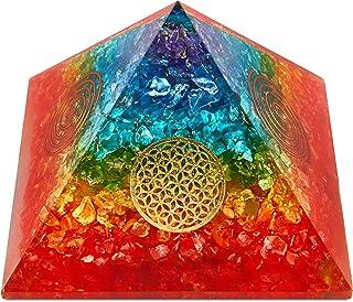 LUXAR Orgone Energy Pyramid | Handmade Orgonite | EMF Protection | Healing Chakra Crystals | Flower of Life | SBB Coil | R...