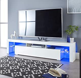 White/&Cordoba Lusiana TV Stand and Entertainment Center for TVs up to 60 with Accent Wall Shelves Decorotika