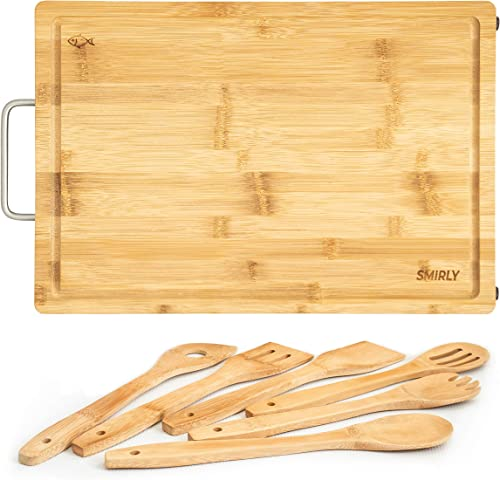 discount SMIRLY online sale Bamboo Wood Cutting Board: 17 x wholesale 12 x 1 Inch Butcher Block Chopping Board with Juice Groove sale