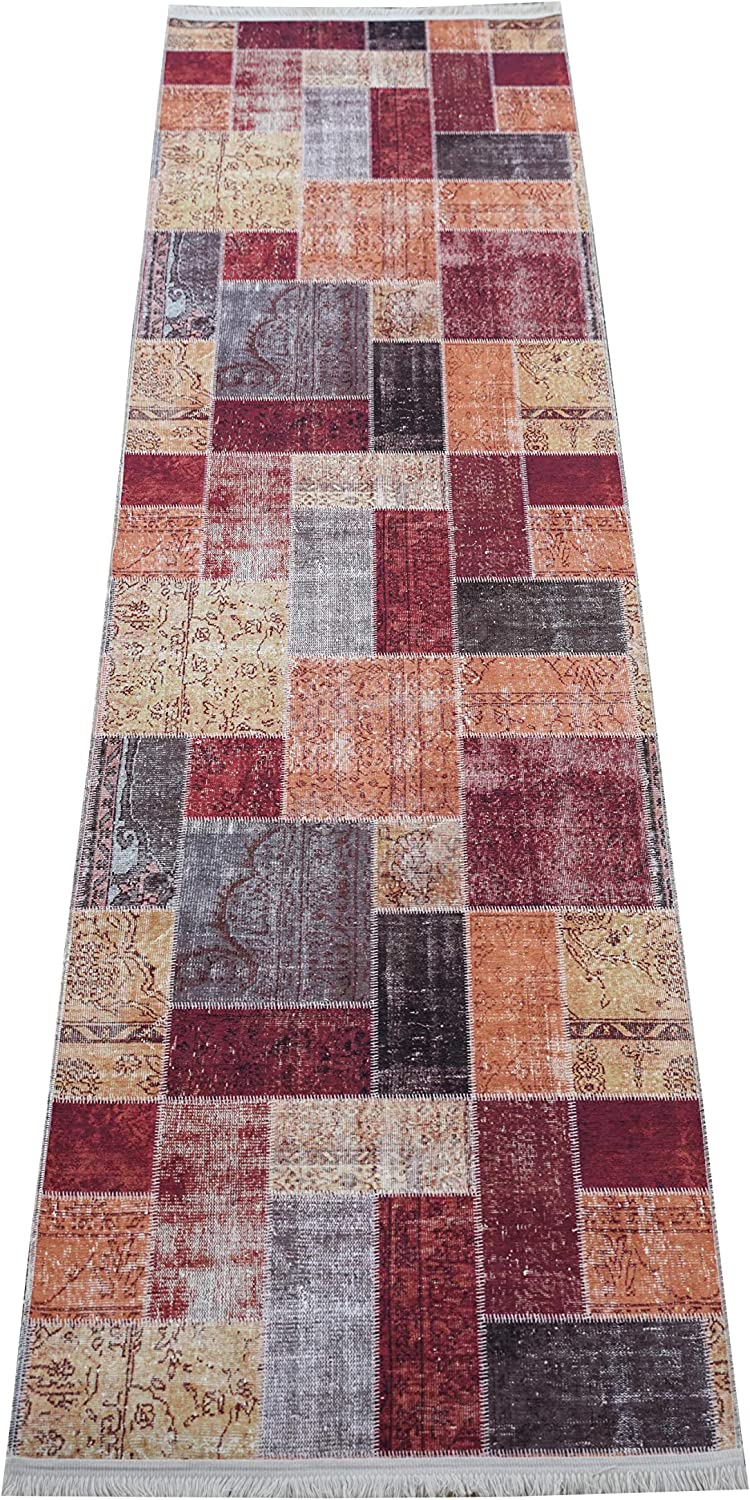Benissimo Cotton Printed Modern Design Area Rug, Soft and Durable, Living Room, Dining Room, Kids Room and Kitchen 3x10 (Runner)   Multicolor