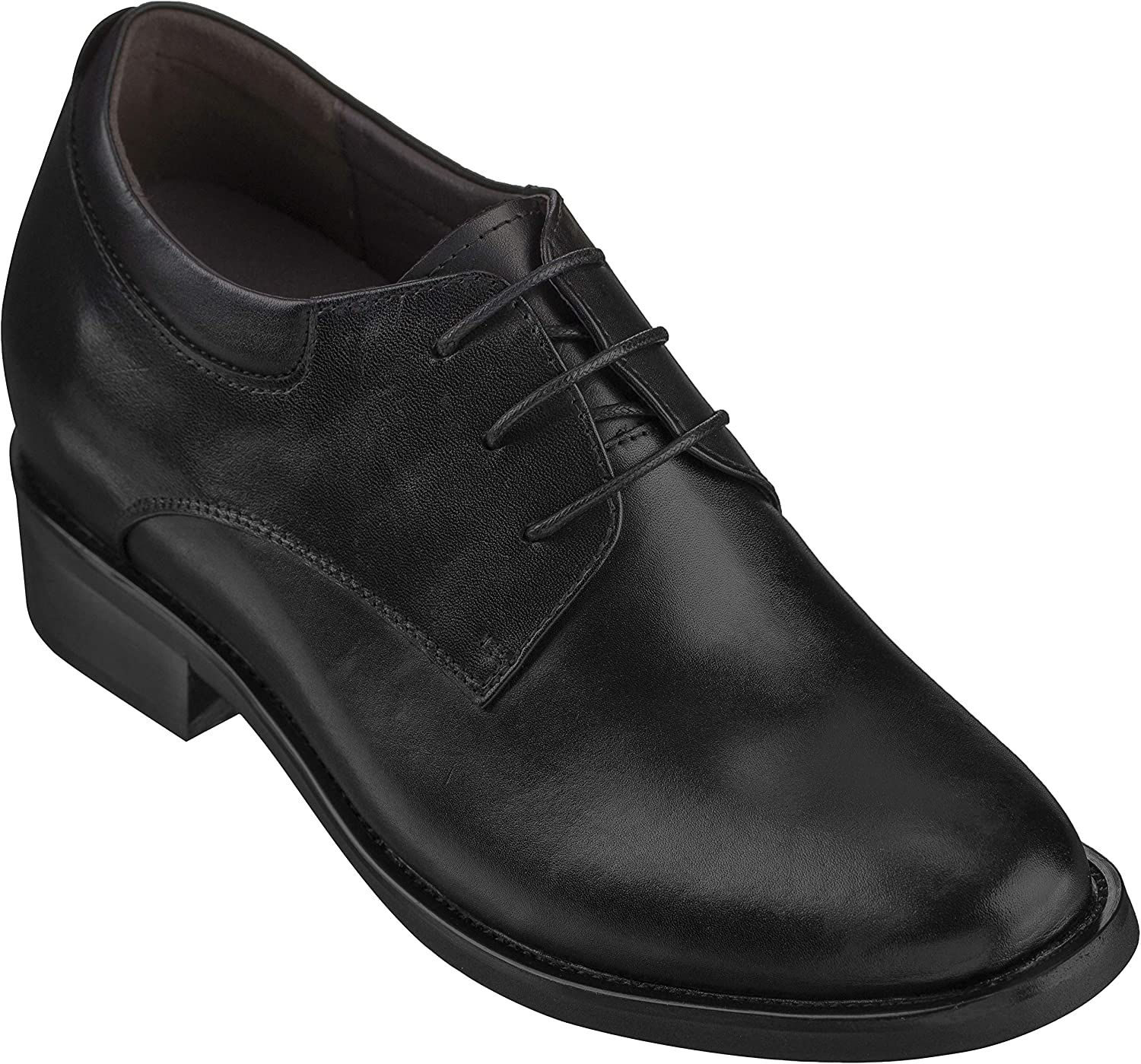 Calden Men's Invisible Height Increasing Elevator shoes - Black Leather Lace-up Lightweight Formal Oxfords - 4 Inches Taller - K59510