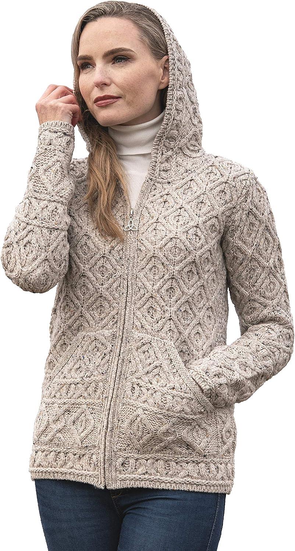 Aran Crafts Women's Soft Cable Knit Honeycomb Hood Cardigan (100% Merino Wool)