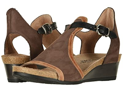 Naot Fiona (Coffee Bean Nubuck/Latte Brown Leather/Black Raven Leather) Women