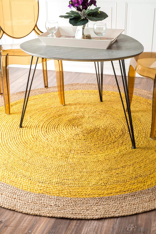 Amazon Com Nuloom Eleonora Hand Woven Jute Accent Rug 2 Feet X 3 Feet Yellow Furniture Decor