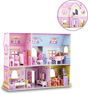 WISESTAR Large Princess Castle 3D Puzzles Model Dollhouse Kits for Girls, 92PCS Fairytale Housea with Furniture, Handmade Craft Kits, Educational Toy Birthday Gift for Kids and Adults