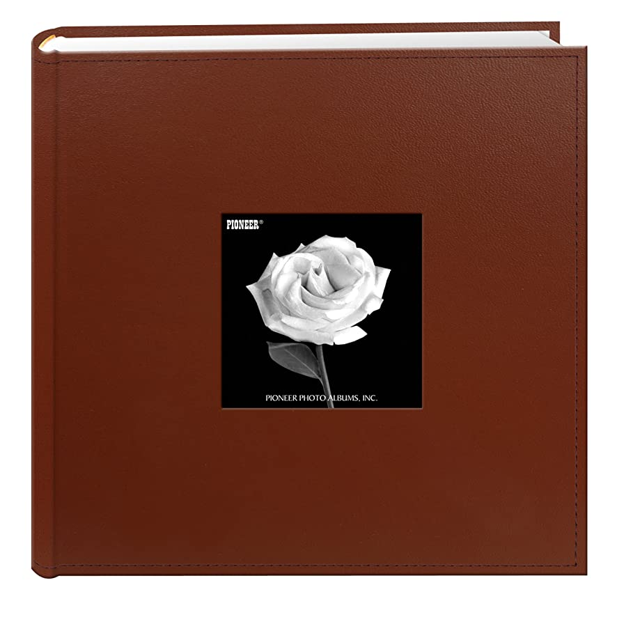 Pioneer Photo Albums 200-Pocket Sewn Leatherette Frame Cover Photo Album, 4 by 6-Inch, Brown