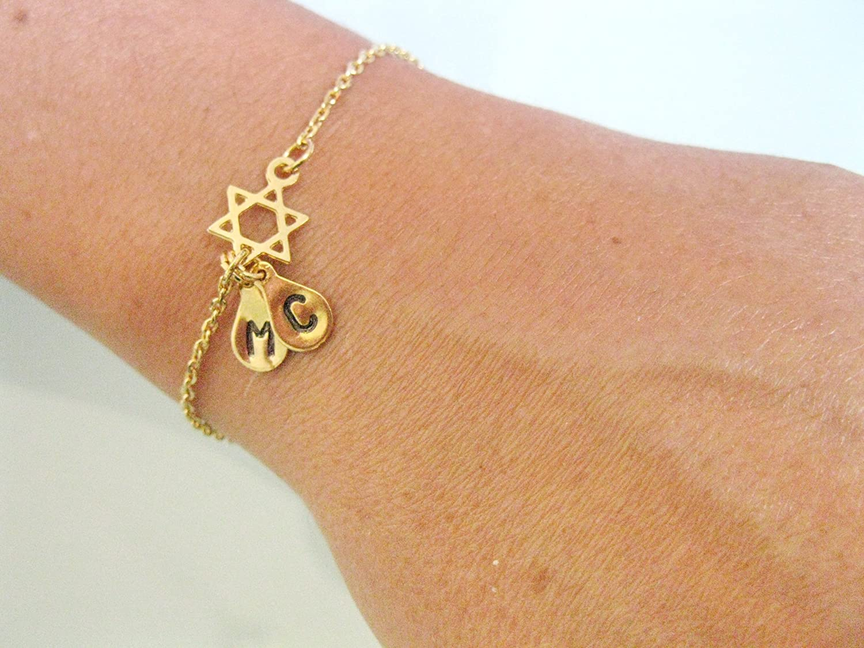Handmade Industry No. 35% OFF 1 Designer Gold Star of David Pe Bracelet Initials with