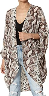 TheMogan Print Chiffon Cascading Kimono Dolman Sleeve Cover Up Cardigan