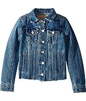 Medium Wash Denim Jacket with Raw Hem Detail in Traffic Jam (Big Kids)