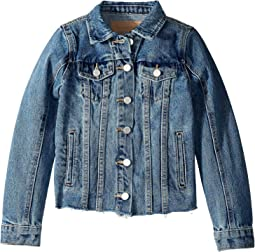 Medium Wash Denim Jacket with Raw Hem Detail in Traffic Jam (Big Kids)