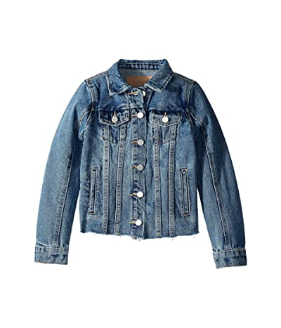 Blank NYC Kids Medium Wash Denim Jacket with Raw Hem Detail in Traffic Jam (Big Kids) (Traffic Jam) Girl