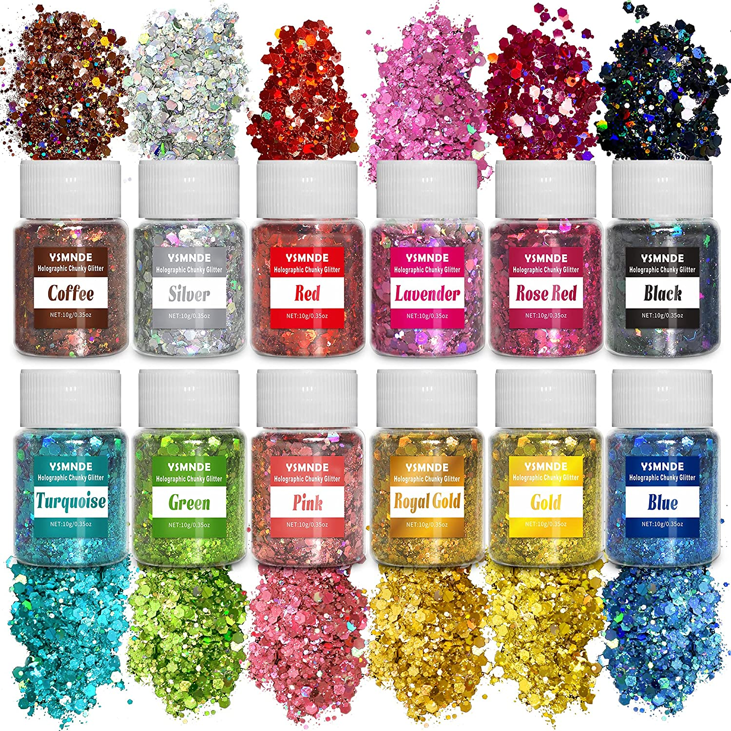 safety Holographic Chunky Glitter 12 Colors 120g Craft Translated Cosmetic YSMNDE