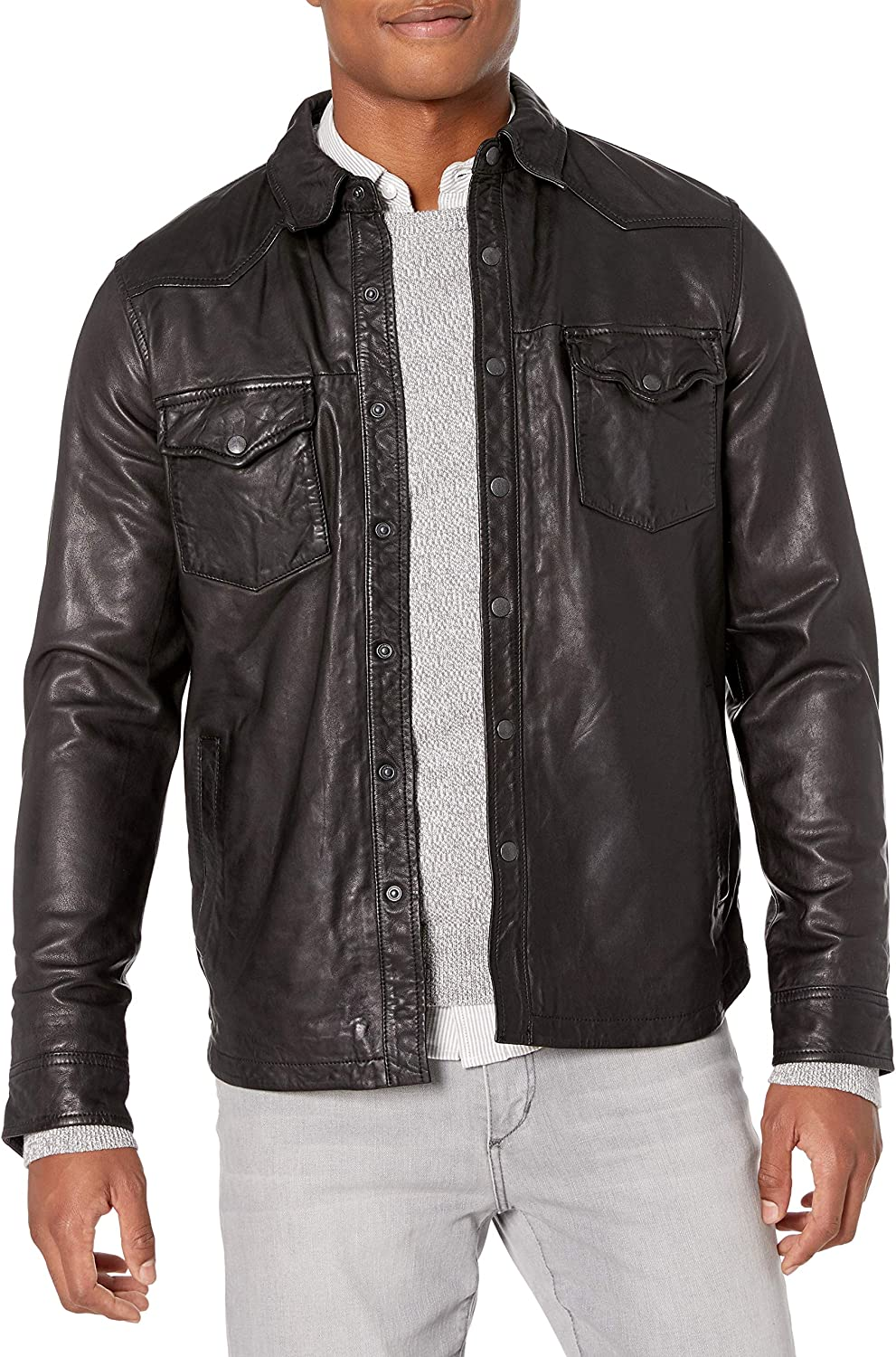 Lucky Brand Men's Leather Western Shirt Jacket