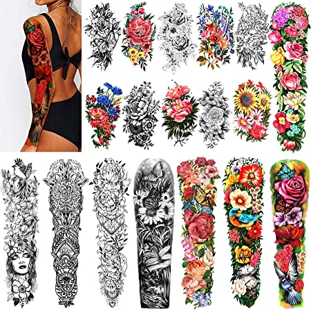 """Full Arm Waterproof Temporary Tattoos 8 Sheets and Half Arm Shoulder Tattoo 10 Sheets, Extra Large LastingTattoo Stickers for Girls and Women (22.83""""X7.1"""")"""