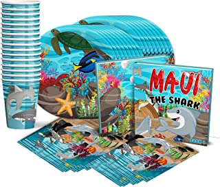 Shark Birthday Party Supplies Set Plates Napkins Cups Tableware Kit for 16 w/ Book