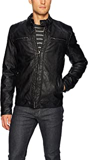 X RAY Mens Motorcycle Faux Leather Jacket Stand Up Collar Vintage Moto Biker Leather Jacket for Men