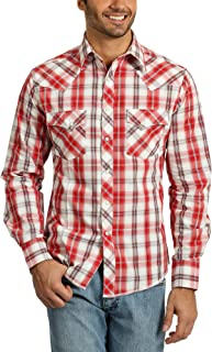Men's Western Fashion Two Pocket Long Sleeve Snap Shirt