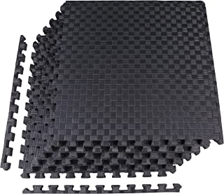 BalanceFrom 1 EXTRA Thick Puzzle Exercise Mat with EVA Foam Interlocking Tiles for MMA, Exercise, Gymnastics and Home Gym Protective Flooring (Black)