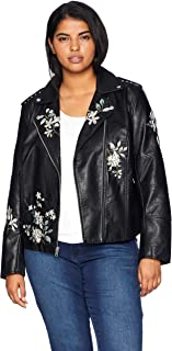 Levi's Women's Plus Size Faux Leather Embroidered Motorcyle Jacket