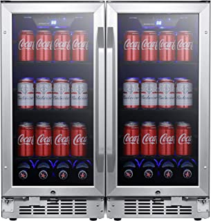 EdgeStar CBR902SGDUAL 30 Inch Wide 160 Can Built-in Side by Side Beverage Cooler with Blue LED Lighting