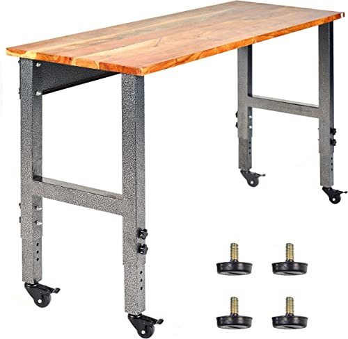 wholesale Fedmax outlet online sale Work Bench - 61-inch x 28 to 44-inch Acacia Wood Garage Work Table with Caster Wheels outlet online sale and Adjustable Height Legs - Tool Benches for Home Improvement sale