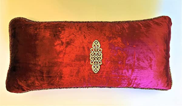 Burgundy Red Velvet Pillow With Pearl Crystal Silver Pin